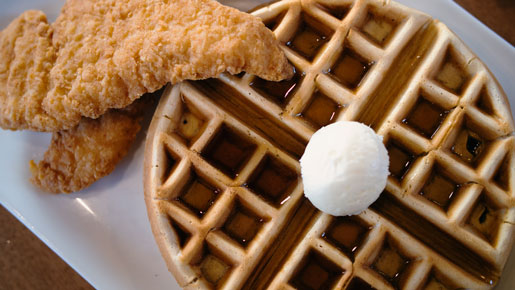 "Chicken and Waffles <i class=""fab fa-hotjar green-label""></i>"